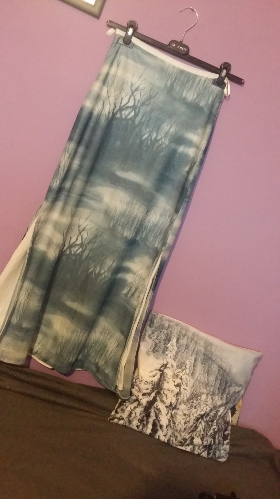 Bajeczna długa spódnica w drzewa mgła mgiełka błękit nietypowa unikat