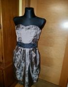 Świetna spódnica krótka różowa materiał w deseń pantery cętek z...