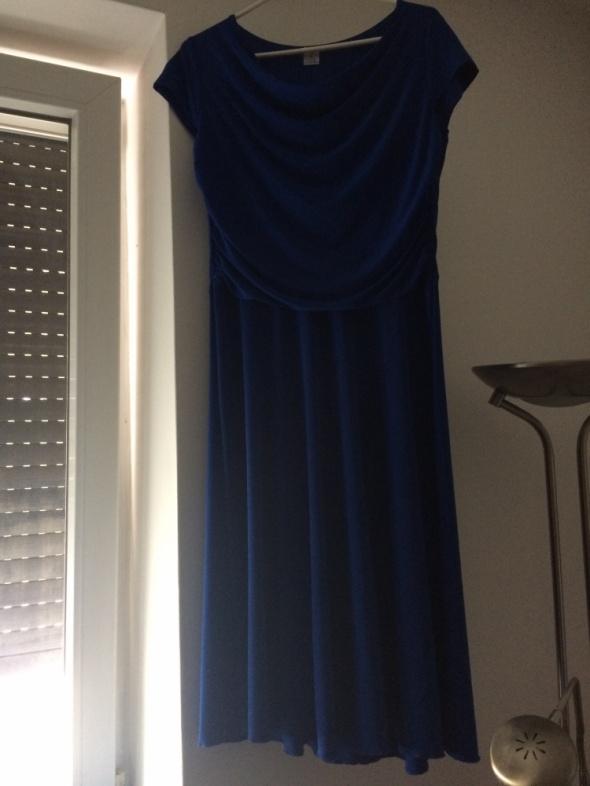 Szykowna granatowa długa sukienka wieczorowa rozmiar 44