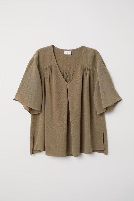 Bluzki H&M by Anna Glover oliwkowa khaki bluzka zara