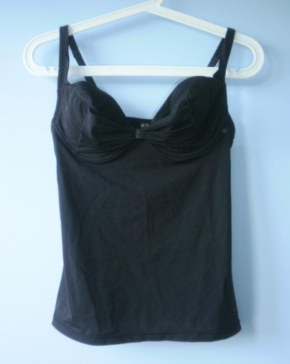 Wonderbra top biustonosz czarny koszulka ramiączka