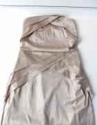 Złota mini sukienka origami XS S tuba...