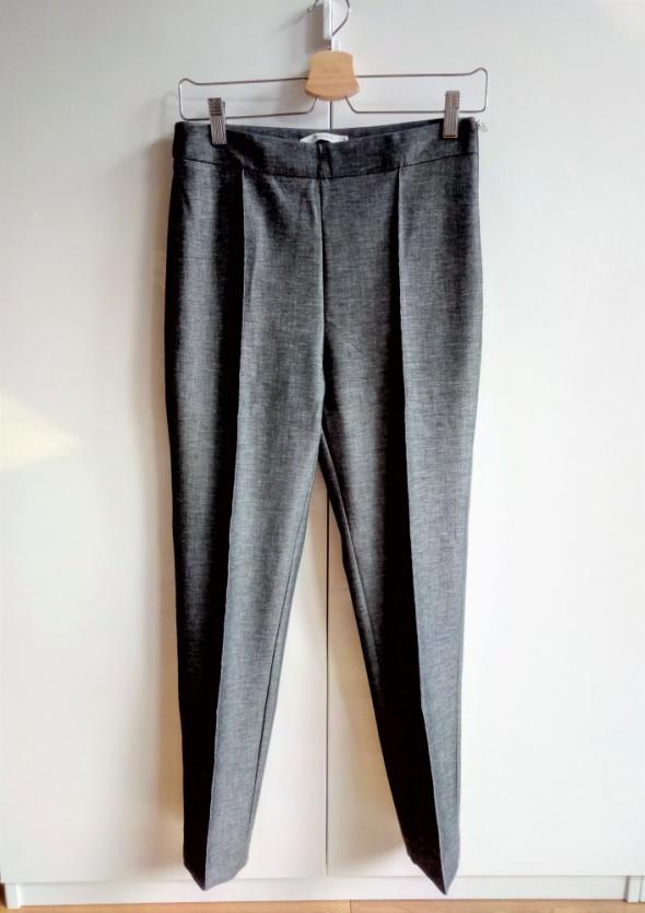 Elastyczne spodnie Mango Suit 38 M cygaretki srebrna nitka szare