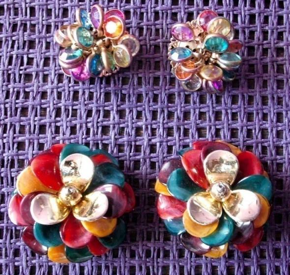 Klipsy kolczyki kwiaty 2 pary