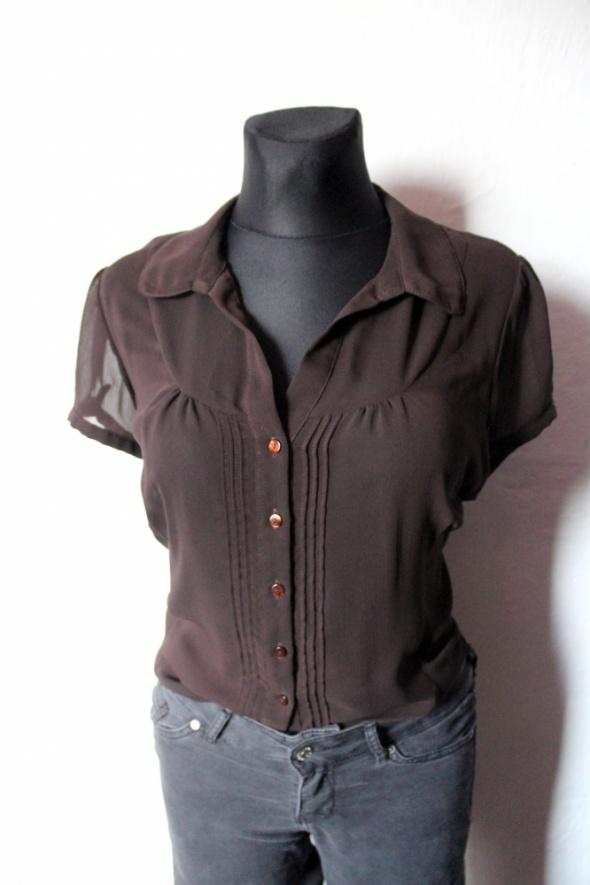 Brązowa koszula na krótki rękaw mgiełka r około L...