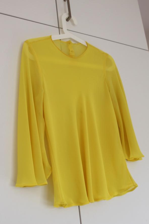 Żółta kanarkowa bluzka Zara mgiełka poszerzana S M