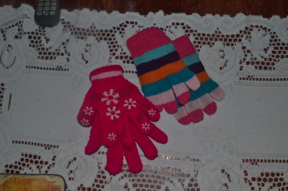 Rękawiczki 2 pary 122cm 116cm 5 6 7 lat