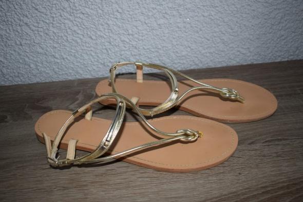 japonki sandały złote skórzane pafrois