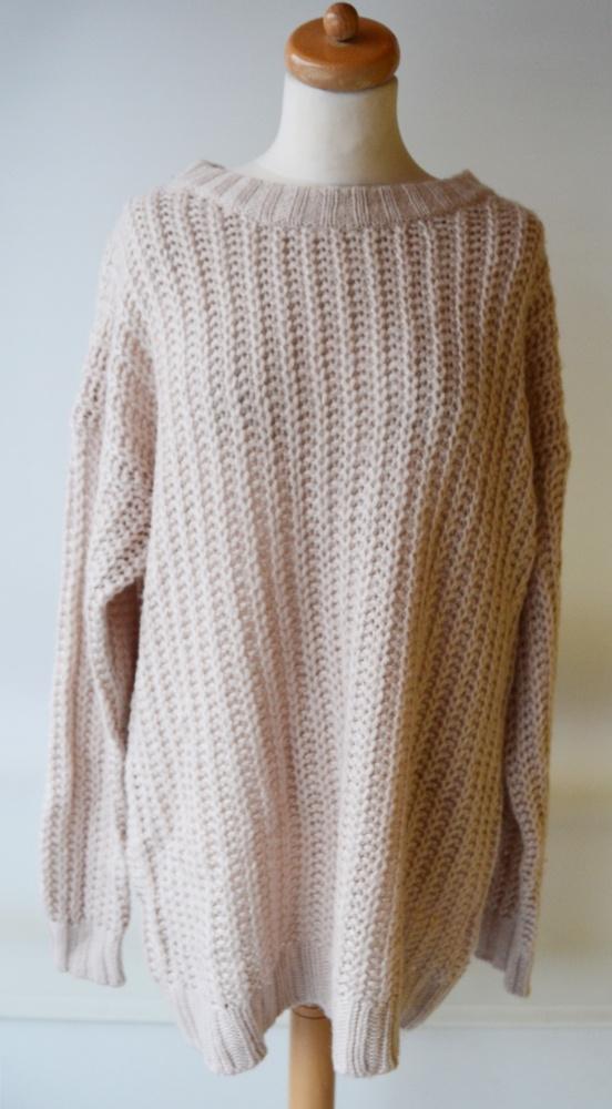 1a8f3fdcff Suknie i sukienki Sukienka Tunika Beżowa H M Basic Oversize Pleciona M 38