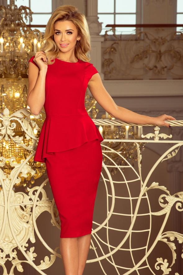 Suknie i sukienki Sukienka midi z baskinką czerwona