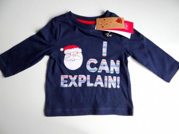 Granatowa bluzka z Mikołajem od 3 do 6 miesięcy