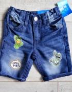 Jeansowe krótkie spodenki matka nowe 98...