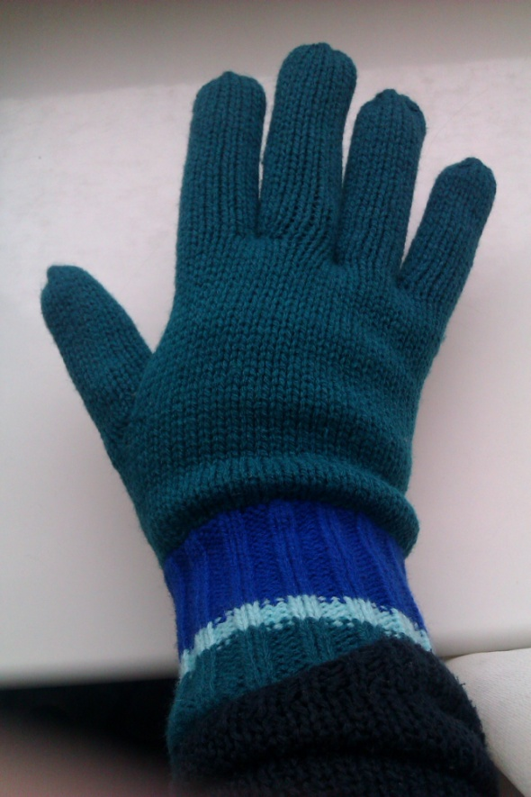 Rękawiczki zimowe Diverse turkus grube polar nowe