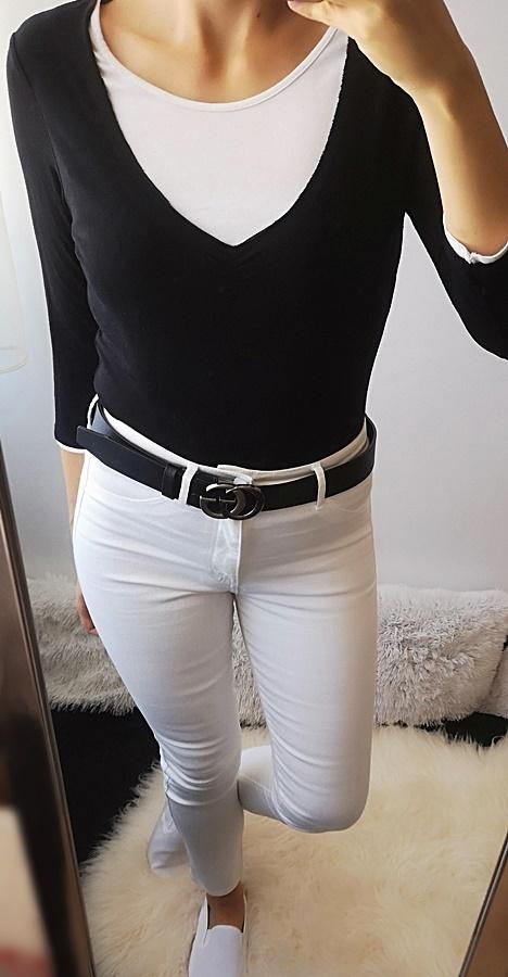 Bluzki Bluzka damska czerń biel 40 L