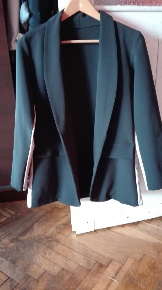 Czarna marynarka long beżowy lampas uniwersalna
