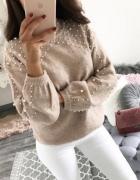 Varlesca Nowy sweter beż nude z perełkami styl zara