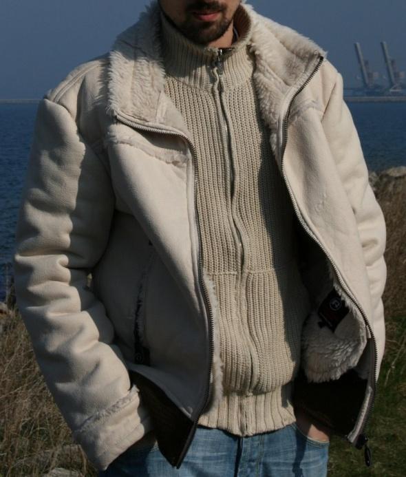 REPORTER kurtka męska kożuszek M zamsz miękka