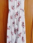 Długa maxi biała zwiewna sukienka floral kwiaty spodenki wycięc...