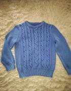 Sweter chłopięcy H&M niebieski 110 116 splot sciag...