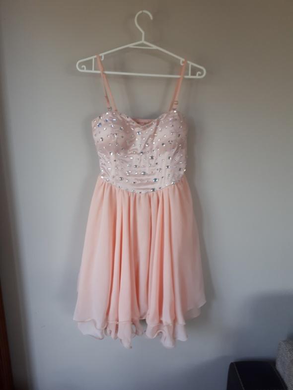 Sukienka pudrowy róż L M na wesele balowa cekiny