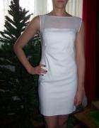 ZARA sukienka biała przezroczyste wstawki 36 38 M...