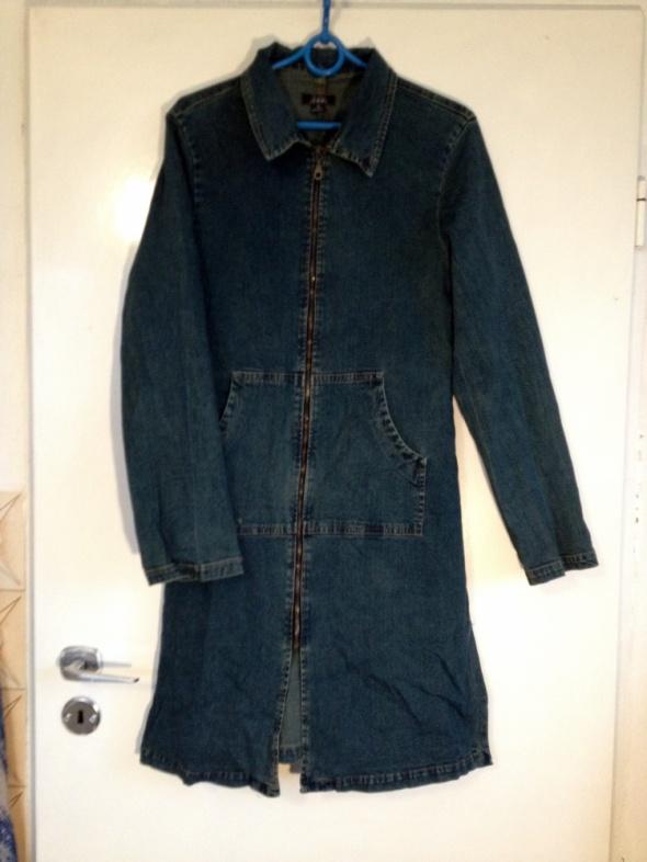Jeansowy płaszcz zamek długi L 40 kieszenie kołnierz jak nowy u...