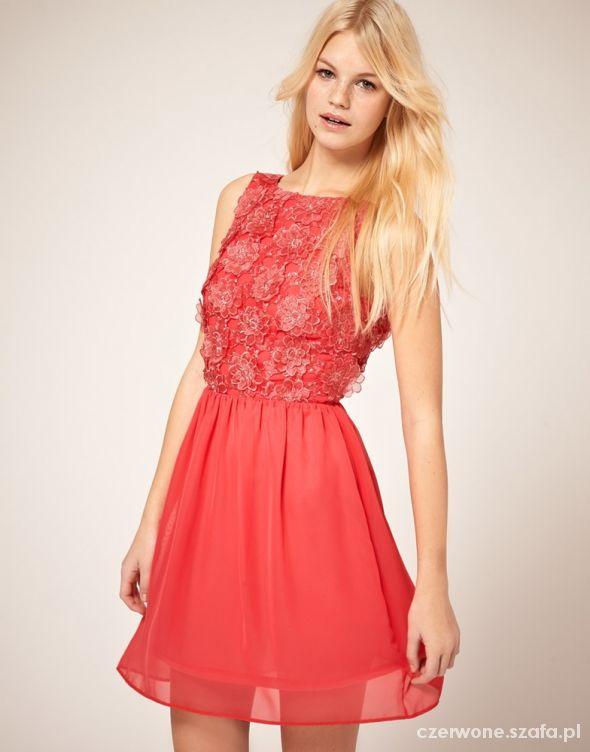 Asos nowa koralowa szyfonowa sukienka kwiatuszki