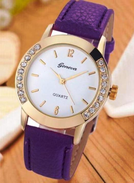 Geneva zegarek z cyrkoniami fioletowy pasek