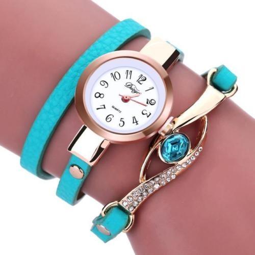 Zegarek jak bransoletka owijany turkusowy pasek