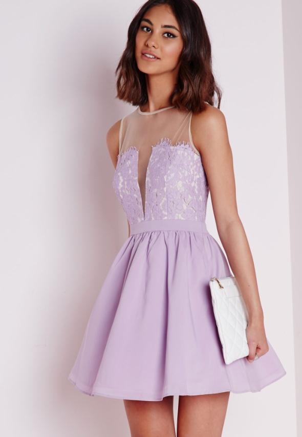 Missguided ASOS sukienka rozkloszowana koronka S