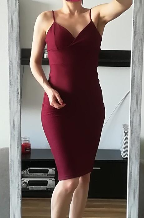 Miss Selfridge bordowa sukienka midi S M