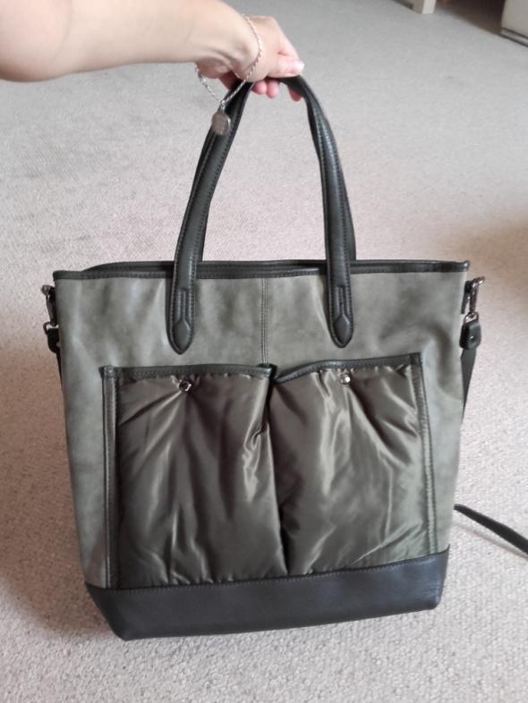Nowoczesna zielona torebka a4 w dwóch odsłonach nowa