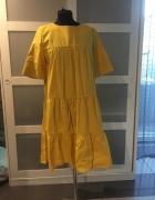 sukienka żółta letnia falbanka...