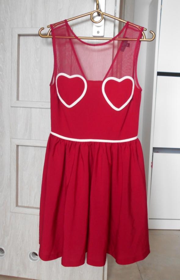 Topshop sukienka bordowa serca serduszka tiulowa...