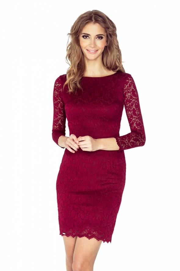 śliczna sukienka KORONKOWA BORDOWA L 40