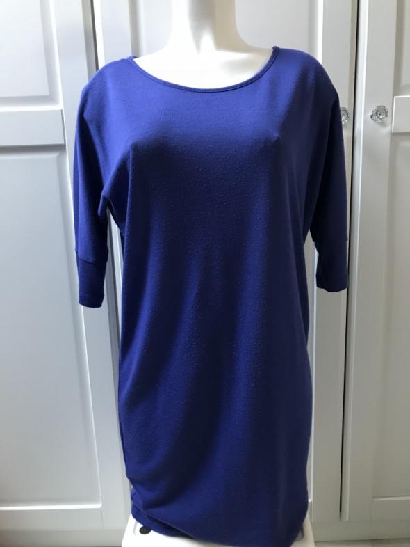 Niebieska bluzka kobaltowa tunika oversize zip