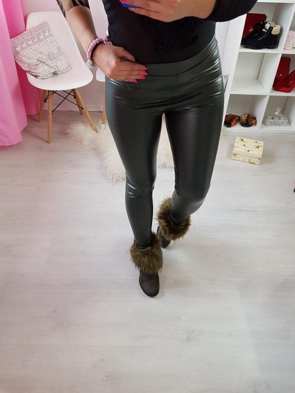 Skórzane ocieplane legginsy woskowane