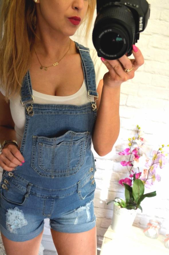 spodnie jeansowe ogrodniczki krótkie MEGA