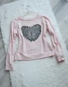 Śliczna różowa bluza z sercem pudrowy róż gipiura koronka...
