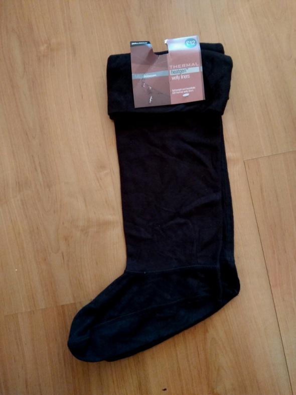 Czarne długie termiczne skarpety do kozaków gumowców Marks and Spencer