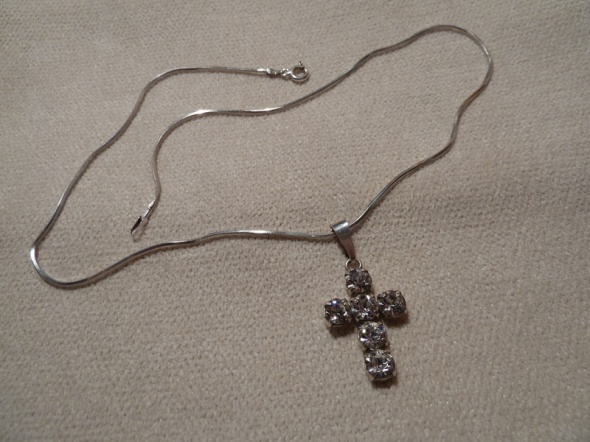 zawieszka cyrkonie krzyż srebro
