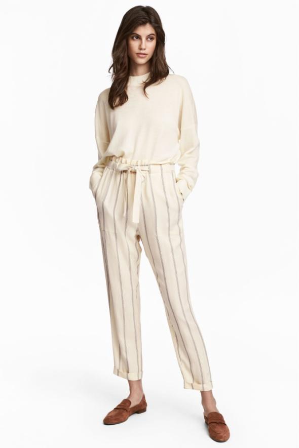 H&M damskie letnie spodnie baggy w pasy wysoki stan Nowe metka