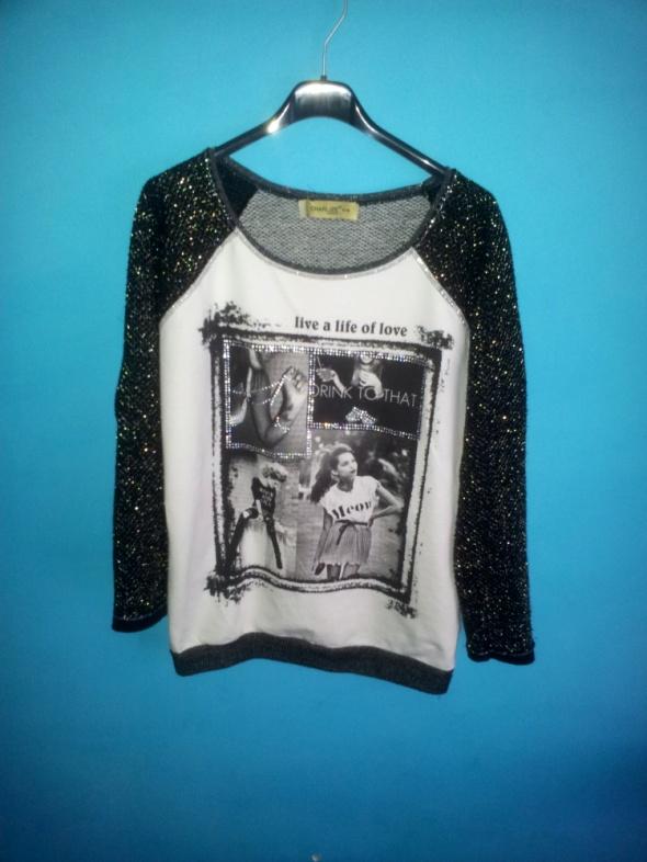Bluza z nadrukiem w kolorze czarna i biała S lub M