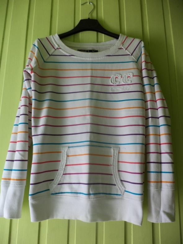 Biała bluza w kolorowe paski M