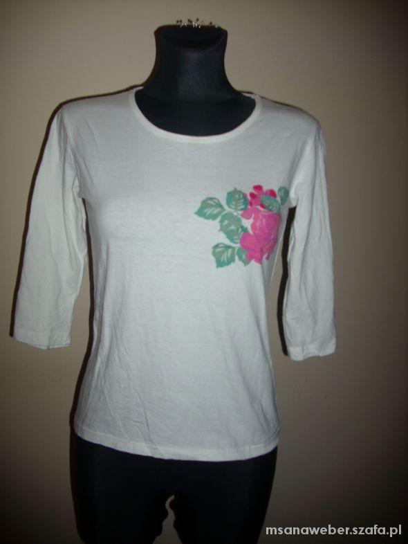 biała bluzka top z różą S na M