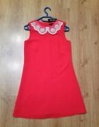 RIVER ISLAND XS 34 CZERWONA sukienka mini...