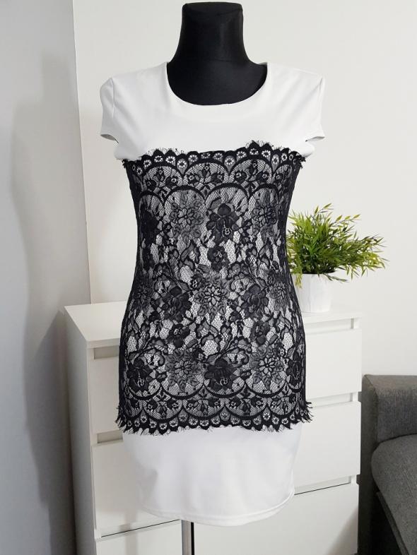 biało czarna sukienka z koronką Ruiyige