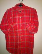Flanelowa koszula czerwona w żółtą niebieską kratę...