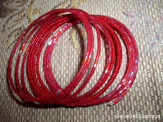 Bransoletka sprężynowa czerwona