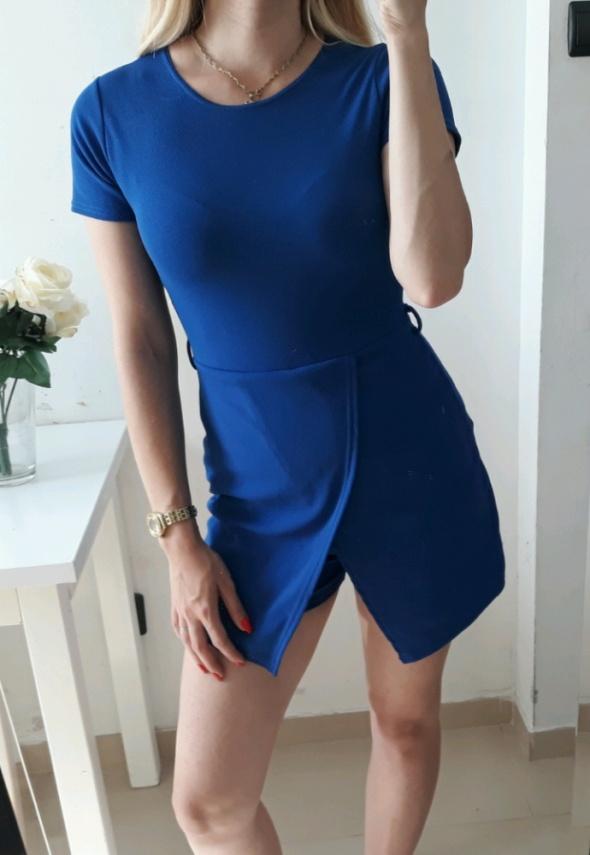 Sukienko kombinezon przekładany niebieski M